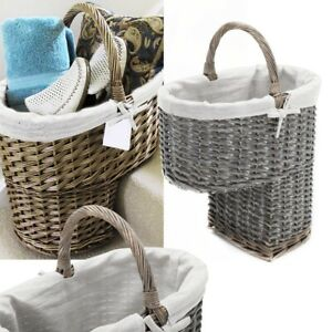 Oval Natural Wicker Stair Basket With Carry Handle Step Tidy/Organiser/Storage