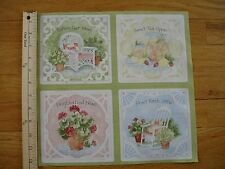 Susan Winget Sweet Tea Sippin' Front Porch Cotton Quilt Fabric Panel Blocks (4)