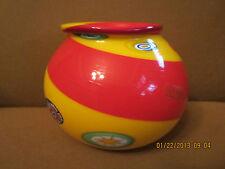 Murano Italian glass Bowl/Vase Yellow and red with murrine and Sticker