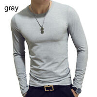 Men's Long-Sleeved T-shirt O-Neck Pullover Tops Solid Basic Tee Casual Slim