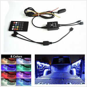 2 Pcs 1.5m RGB LED Car Pickup Bed Light Strip Decoration Lamp Bar + Remote Kit