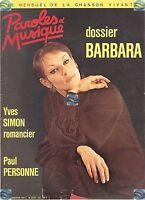 Magazine PAROLES et MUSIQUE 46 barbara (22 pages) yves simon paul personne