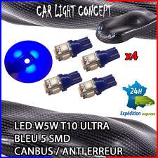 4 x ampoule 5 smd Veilleuse LED W5W T10 ULTRA BLEU XENON 6500k voiture moto
