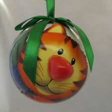 Tabby Cat Blinking Nose Lights Christmas Ornament Ball New Twinkling Flashing