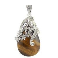 Best Jewelry Gift Handmade Genine Tiger's Eye Gemstone Silver Necklace Pendants