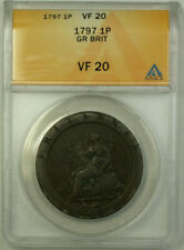 1797 Great Britain 1 Penny Coin King George III ANACS VF 20