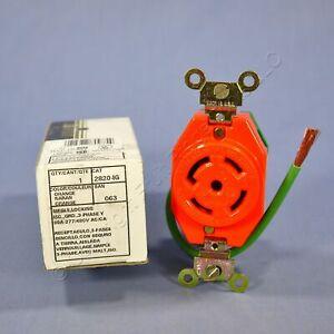 New Leviton L22-30R ISO GND Locking Receptacle 30A 277/480V 3ØY 2820-IG-063 Box