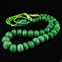1073.50 CTS EARTH MINED GREEN EMERALD SINGLE STRAND ROUND CARVED BEADS NECKLACE