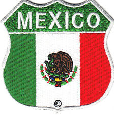 MEXICO FLAG SHIELD, Iron On Patch Motorcycle Biker Vest Mexican