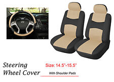 Car Seat Covers  2 Front PU Leather Truck SUV Van Sedan 859 Black/Tan