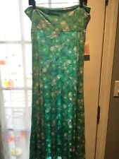 LuLaRoe Maxi Skirt L Green White Floral Leaves Peacock Feathers