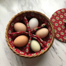 Vintage Boiled Egg Cozy Lidded Serving Basket Woven Made in West Germany Red 7x3