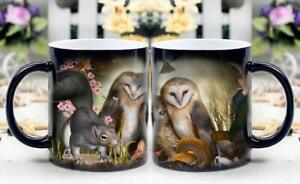 Owl Family magically appear-Heat Sensitive Color Changing Coffee Cup-Magic mug