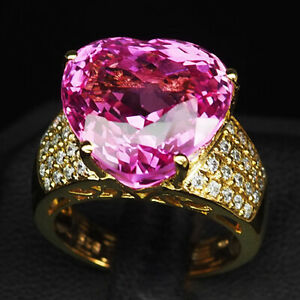 TOPAZ PLATINUM PINK HEART 20.10 CT. SAPPHIRE 925 STERLING SILVER GOLD RING SZ 7