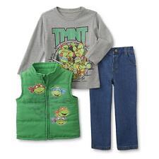 Teenage Mutant Ninja Turtles Boy 3Pc Winter Puffer Vest Top Jeans Outfit Set 4T