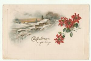 Christmas Greetings, Embossed Postcard, Posted 1923, Card in Good Condition.