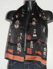 Foulard vintage noir et rouge 126x27 Très bon état