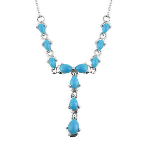 """925 Sterling Silver Turquoise Crystal Necklace Fine Jewelry Size 18.5"""" Ct 4.4"""