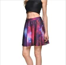 Woman Pleated Skirt Red Galaxy Printed Pleated Mini Skirt S-4XL Skirt 874