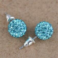 Crystal Rhinestone Ball Stud Earrings Micro Pave Disco Ball Ear Studs 10mm Women