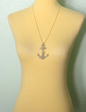 Gold Anchor Necklace Large Glitter Charm Opera Length Acrylic Rockabilly Pinup