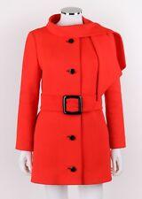 Vtg LILLI ANN c.1960's Red-Orange Button Front Scarf Collar Belted Jacket Coat