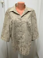 CJ Banks cotton rayon polyester linen button jacket  blouse 1X