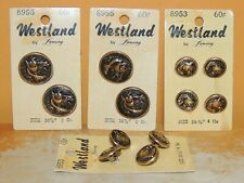 NEW 12 Vintage Women's Buttons Horse motif repousse metal brass 4 37mm 8 25mm