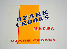 Lot 2 Lg Ozark Crooks Rum Cured Cigar Box Label Unused NOS New 1940-50s Tobacco