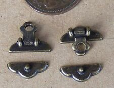 1:12th Scale Dolls House Two Metal Antique Brass Trunk Chest Locks Accessory 590