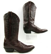 Men's Justin Burgundy Leather Cowboy Western Boots Size: 9 B *NARROW