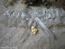 Wedding Ceremony Gold ~Flip Flop~ Bridal beach Life White Satin & Lace Garter