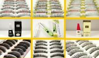 10 Pairs False Fake Eyelashes Lashes Glue Natural Individual Makeup Soft Thick