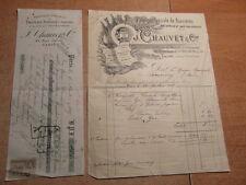 ANCIENNE FACTURE J. CHAUVET & Cie FABRIQUE DE BANNIERES DRAPEAUX 1905