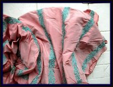 VINTAGE DESIGNER SILK TAFFETA EMBROIDERED FABRIC REMNANT PINK TURQUOISE NY