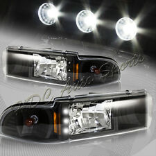 For 1991-1996 Chevy Impala/Caprice LED Black Housing Clear Lens Headlights Lamp