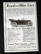 1914 OLD MAGAZINE PRINT AD, CRESCENT MOTOR CO, OHIO AND ROYAL TOURING CARS!