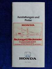 Honda Preisliste 1987 - Civic CRX Accord Prelude - Prospekt Brochure 05.1987
