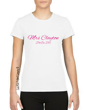 Just Married Personalised Mrs XXXX & Date, Wedding T-Shirt Sizes S-XL