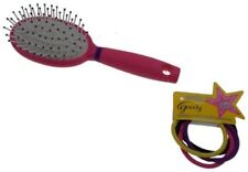 NEW Goody Star Style Pink Paddle Brush No Metal & 5 Hair Elastics Back to School