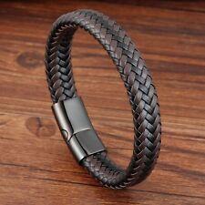 Bracelet homme femme en acier inoxydable et cuir noir et marron  21 ou 19 cm
