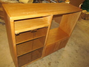 Solid oak shelf entertainment cabinet no pressed sawdust wood. Oak Crafters.