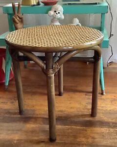 Vtg  Woven Rattan Bamboo Coffee Accent End Side Table Wicker Boho mcm retro