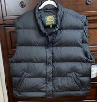 Cabelas Premium Northern Goose Down Puffer Vest Mens 2XL Reg Snap Up Black