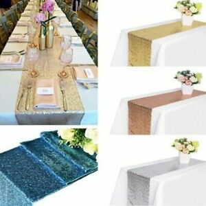 """Glitter Sequin Table Runner Sparkly Wedding Party Decor 4ft table 13"""" x 80"""""""
