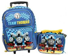 "2016 Thomas the Tank Engine Light Up 16"" Large Rolling Backpack and Lunch Bag US"