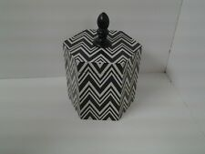 Black & White Zig Zag Wooden Container with Lid 6 inches tall Hobby Lobby