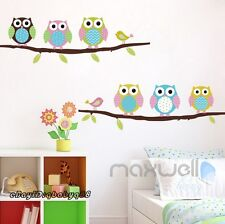 Owl Bird Hoot Tree Branch Wall Decals Removable Stickers decor kids nursery Gift