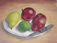 """Acrylic painting fruit on a plate with knife unsigned 9x12"""""""