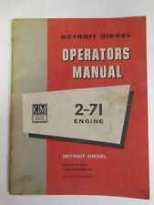 GM / DETROIT DIESEL Series 2-71 Engine OPERATORS MANUAL for 2 Cylinder Units